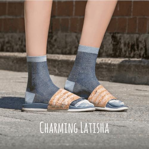 Too Hot To Hide Socken Charming Latisha Blue Melange Blau